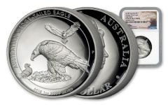 2018 Australia 1 Dollar 1-oz Silver Wedge-Tailed Eagle HR NGC PF69UCAM Mercanti Signed