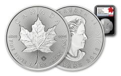 2018 Canada 1-oz $5 Silver Incuse Maple Leaf NGC Gem BU FDI 30th Anniversary Label - Black