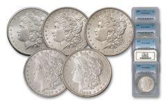1884-1888-P Morgan Silver Dollar NGC/PCGS MS65 5pc Set