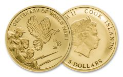 2018 Cook Islands 1/100 Ounce Gold $5 Centenary of WWI Proof-Like