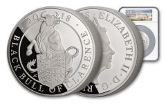 2018 Great Britain 10-oz Silver Queen's Beasts Black Bull NGC PF70UCAM First Struck