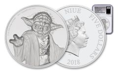 2018 Niue 5 Dollar 2-oz Silver Star Wars Yoda Ultra-High Relief NGC PF70UCAM First Releases
