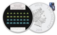 2018 Niue $2 1-oz Silver Space Invaders Lenticular Proof