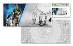 2018 Niue 1 Dollar 5 Gram Silver Foil Star Wars R2-D2 and C-3PO PMG 70 Colorized Proof-Like Note