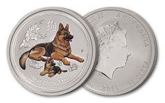 2018 Australia 1/4-oz Silver Lunar Dog Colorized BU