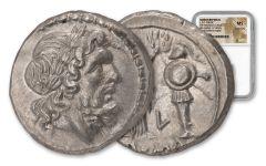 211–208 B.C. Ancient Roman Victoriatus NGC Mint State Fine Style