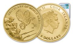 2018 Cook Islands 1/100 Ounce $5 Gold Centenary of WWI PL70 FR Exclusive Pacific Rim