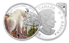2018 Canada 1-oz Silver Majestic Wildlife Mountain Goat NGC PF70 UC Colorized Proof