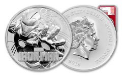 2018 Tuvalo 1-oz Silver Iron Man NGC MS69 – 1 of First 589 Struck Red Core Marvel Label