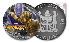 2018 Fiji $2 2-oz Silver Thanos Avengers Infinity War Antiqued NGC PF69 First Releases