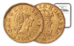 1764/3 Spain Gold Half Escudo Madrid NGC MS63