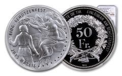 2015 Switzerland 50 Franc 25 Gram Shooting Festival Thaler – Wallis Silver Proof NGC PF70UC