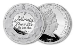 2018 Gibraltar 1 Crown 1-oz Silver Sapphire Coronation Proof