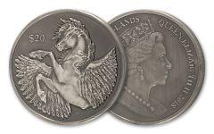 2018 British Virgin Islands 2-oz Silver Pegasus Antiqued BU
