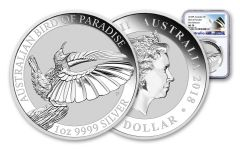 2018 Australia 1 Dollar 1-oz Silver Bird of Paradise NGC MS70 First Releases