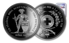 2000 Switzerland 50 Franc 25 Gram Shooting Festival Thaler – Biere Silver Proof NGC PF70UC Swiss Label