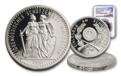 1990 Switzerland 50 Franc 25 Gram Shooting Festival Thaler – Winterthur Silver Proof NGC PF70UC Swiss Label