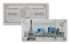 2018 Cook Islands 5 Gram $1 Silver Note Paris Famous Skylines Colorized GEM Proof-like