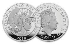 2018 Great Britain One Kilo Silver Britannia Proof