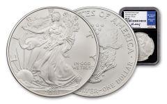 2018-W $1 Burnished Silver Eagle NGC MS70 FDI Moy Black Core