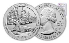 2018-P Voyageurs National Park 5-oz Silver America the Beautiful Specimen PCGS SP70 FS Flag Label Mercanti Signed
