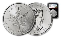 2018 Canada $5 1-oz Silver Incuse Maple Leaf NGC MS70 Black Core