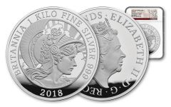 2018 Great Britain 500 Pounds Silver Kilo Britannia NGC PF70UC First Strike