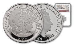 2018 Great Britain 25 Pound 1/4 Ounce Platinum Britannia NGC PF70UC First Strike
