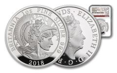 2018 Great Britain £2 1-oz Silver Britannia NGC Gem Proof First Strike