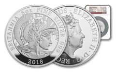2018 Great Britain £10 5-oz Silver Britannia NGC Gem Proof First Strike