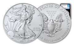 2017-(P) 1 Dollar 1 Ounce Silver Eagle Struck At Philadelphia NGC MS69 First Day Of Issue - Black Core