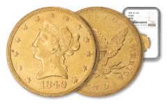 1849 $10 Gold Liberty 1 Over 1 Overdate VP-003 NGC AU55