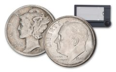 2-Piece Dime Set 1945-S Mercury with Micro