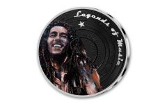 2019 Solomon Islands $5 1-oz Silver Sid Maurer's Legends of Music Bob Marley Colorized Proof