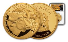 2018 Tanzania 1-oz Gold Serengeti Big 5 Buffalo NGC PF69UC