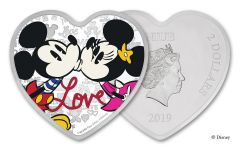 2019 Niue $2 1-oz Silver Disney Love Heart-Shaped Colorized Proof