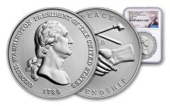 George Washington Presidential 1-oz Silver Medal NGC MS70 First Releases - Washington Label