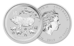 2019 Australia 50 Cent 1/2-oz Silver Lunar Year of the Pig Proof