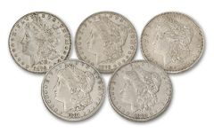 1878–1882 Morgan Silver Dollar 5-Piece Set XF