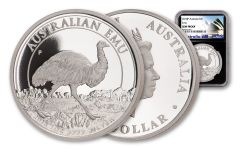 2018 Australia $1 One-Ounce Silver Emu NGC Gem Proof Black Core