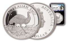 2018 Australia $1 One-Ounce Silver Emu NGC PF70UC Black Core