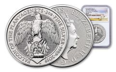 2019 Great Britain 2-oz Silver Queen's Beast Falcon of the Plantagenets NGC MS69 First Releases