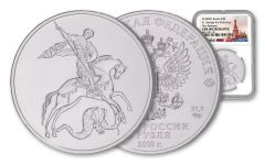 2018 Russia 1-oz Silver Saint George the Victorious NGC Gem BU First Releases - Russia Label