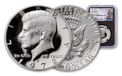 1972-S Kennedy Clad Half Dollar NGC Gem Proof Charlie Duke Signed Label, Black Core