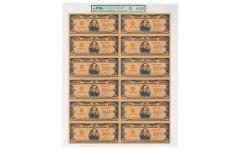 Smithsonian Series 1934 $10,000 24K Gold Certificate PMG Gem Uncut Sheet