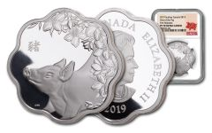 2019 Canada $15 1-oz SIlver Year of the Pig Lunar Lotus NGC PF70UC First Releases