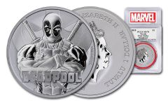 2018 Tuvalo $1 1-oz Silver Deadpool PCGS MS70 First Strike - Marvel Label