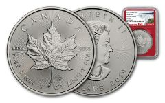 2019 Canada $5 1-oz Silver Maple Leaf NGC MS70 First Day of Issue - Red Core