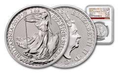 2019 Great Britain 2-Pound 1-oz Silver Britannia NGC MS69 First Releases - Exclusive Britannia Label
