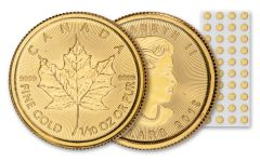 2019 Canada $5 1/10-oz Gold Maple Leaf BU 40-Piece Sheet